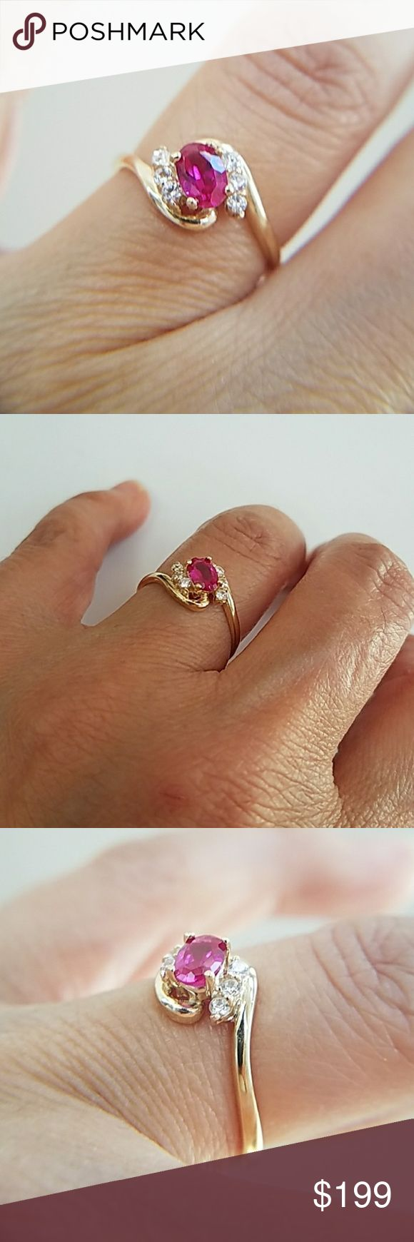 14k Yellow Gold Oval Ruby Engagement Promise Ring 14k Solid Yellow Gold Oval Synthetic Ruby Engagement Promise Ring. Available in sizes 3 4 5 6 7 8 9 10 Item#RG0330-2-62 Jewelry Rings