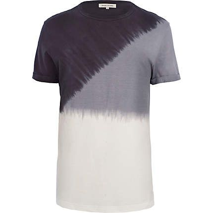River Island  Black diagonal dip dye t-shirt  £16.00