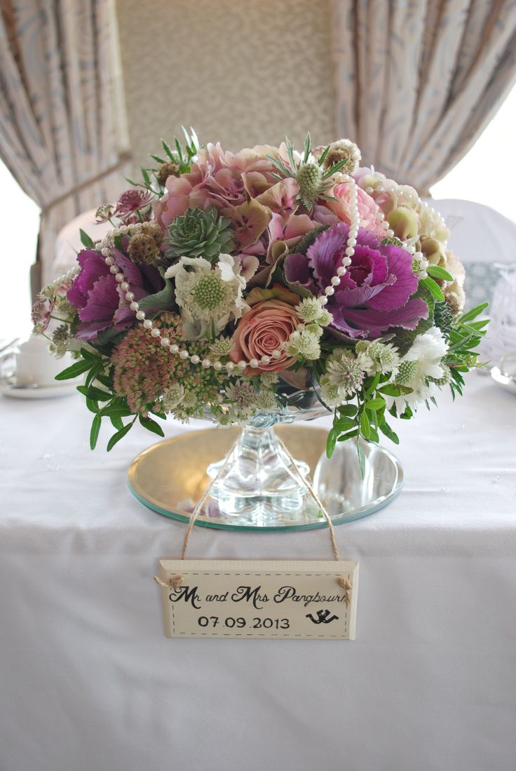 Top table floral & pearl centrepiece
