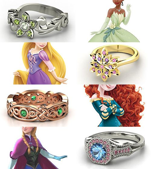 Rings inspired by the Disney Princesses - Part III Tiana, Rapunzel, Merida, Anna