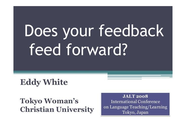 This slideshow was used for my formative feedback workshop at the JALT 2008 International Teaching and Learning Conference in Tokyo, Japan