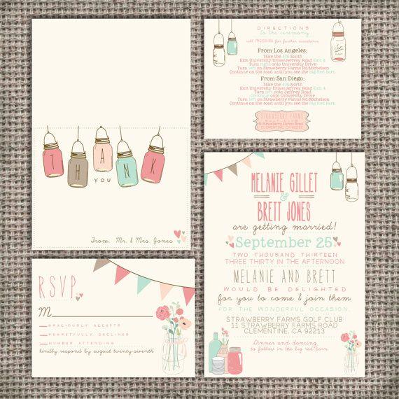 Wedding Invitation Suite Set DEPOSIT - Printable, Custom, DIY - Vintage, RUSTIC, Pretty, Jars, Barn Wedding, Spring (Wedding Design #10)
