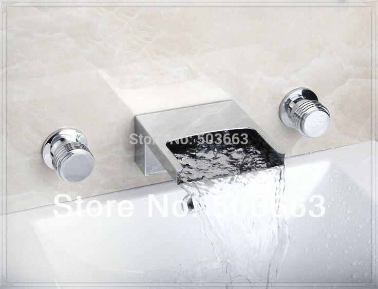 Купить товарЛучший водопад настенные ванной бассейна раковина ванна хром двойные ручки смеситель кран MF 809 в категории Смесители для ванной и душана AliExpress.            &