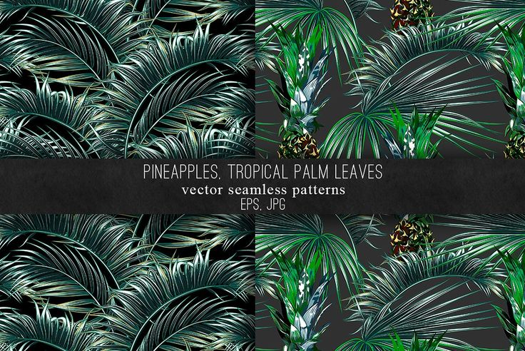 Pineapples, palm leaves patterns by Tropicana on @creativemarket