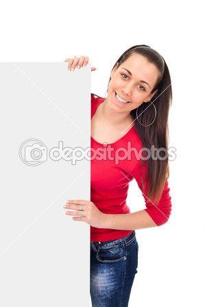 niña sonriente sostienen tarjeta en blanco — Imagen de stock #5878659