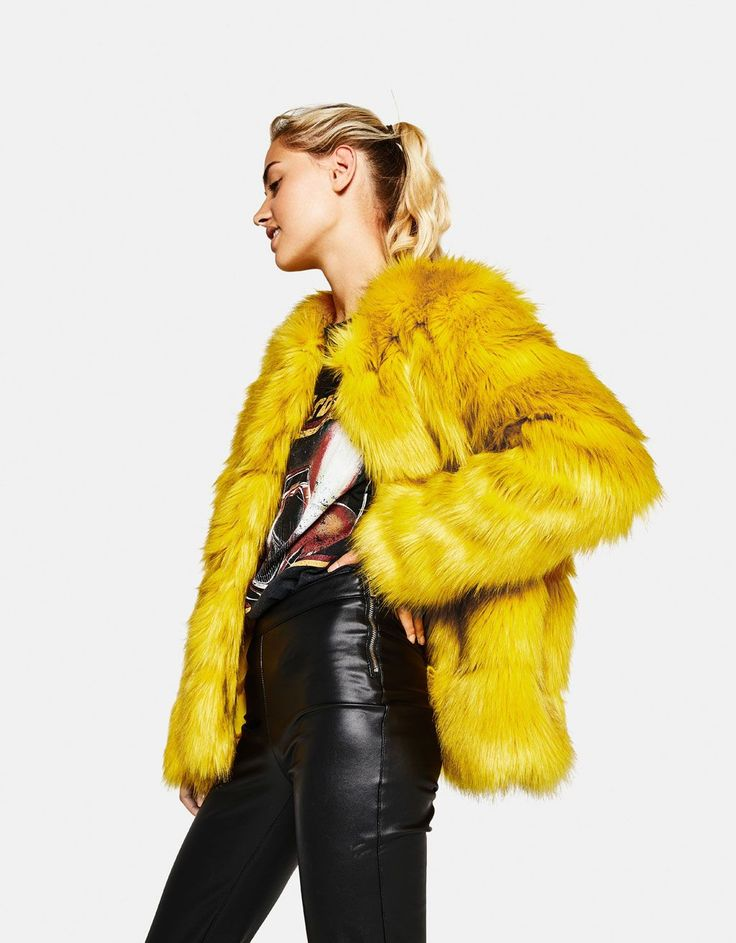 Short faux fur coat. Discover this and many more items in Bershka with new products every week
