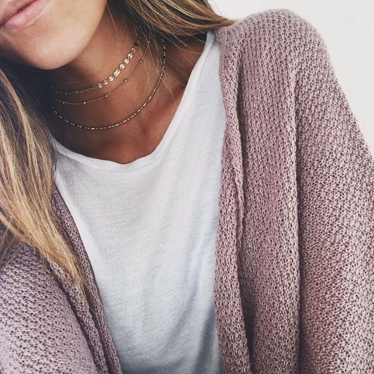Soft cozy cardigan and multiple layers of necklaces