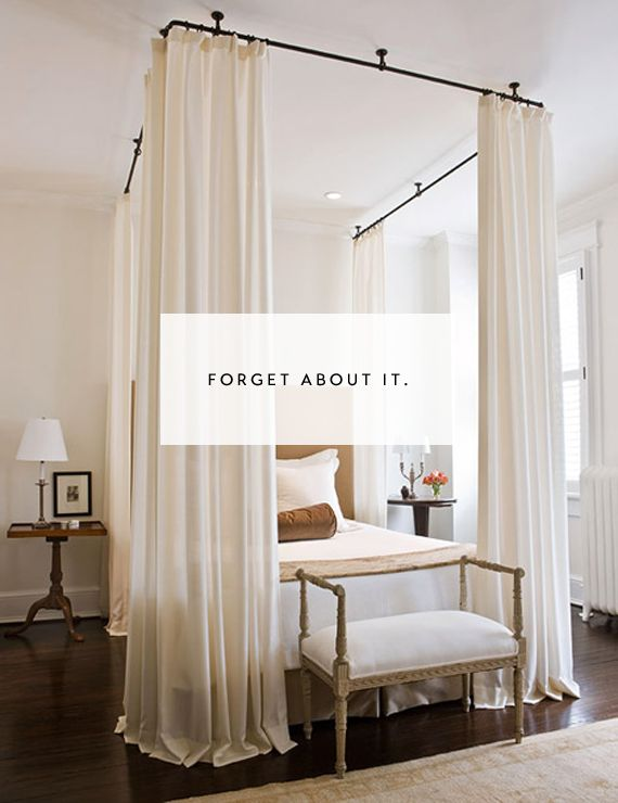 {home} DIY canopy bed with pipes from the ceiling + curtains. would be awesome to do if we had super high ceiling...