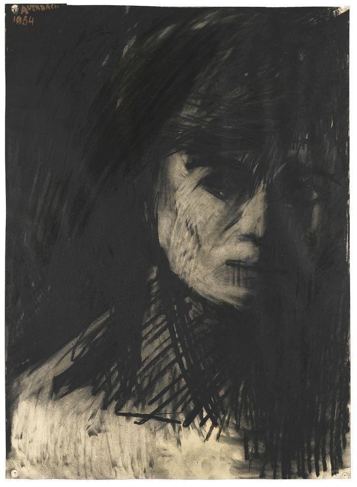 Frank Auerbach (British, b. 1931), Head of Sheila Fell, 1954. Charcoal, 76 x 55 cm.