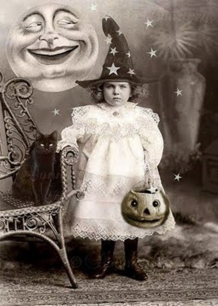 Vintage Halloween photo. ☀ Little girl with black cat, witch hat, jack-o-latern, and moon.