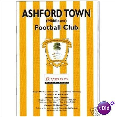 Ashford Town Middlesex v Egham Town 24/9/2002 Non League Football Programme Sale