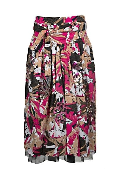 Marc Jacobs stretch cotton pleated skirt with all over print, tie waist, patchs and sequins embroideries, interior lining in silk and tulle  The model is 1,75m tall and is wearing size 38