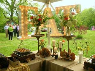Fun food buffet, brick chafing dishes, paper flowers, rustic flowers and jars