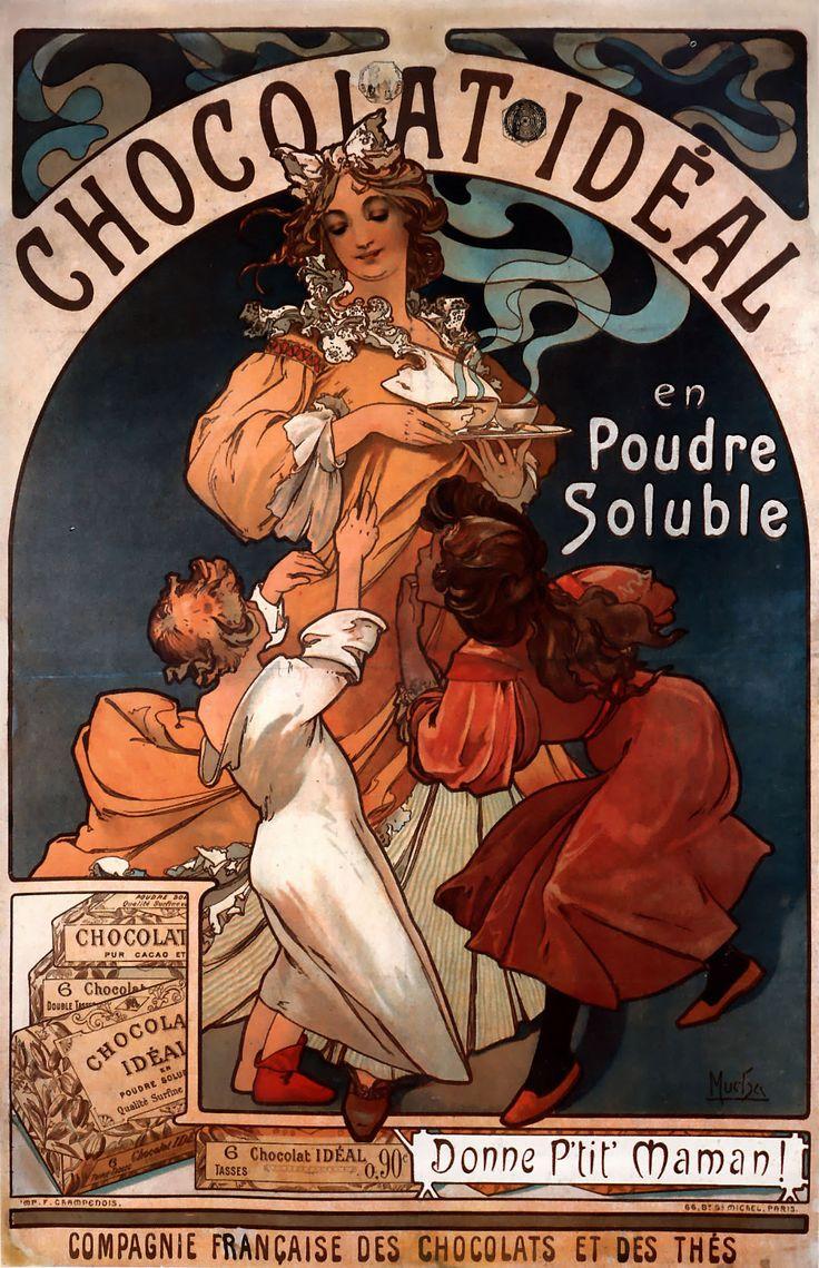 """Alfons Maria Mucha (Czechoslovakian Art Nouveau painter) 1860 - 1939  Poster for Chocolat Idéal, 1897  colour lithograph  117 x 78 cm. (3' 10.06"""" x 30.71"""")"""