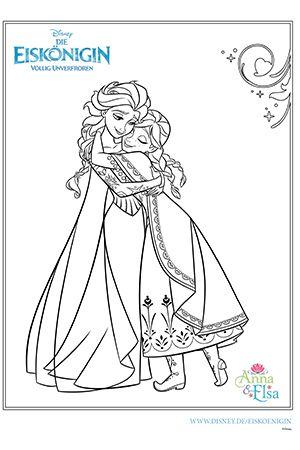 Ausmalbild - Anna und Elsa
