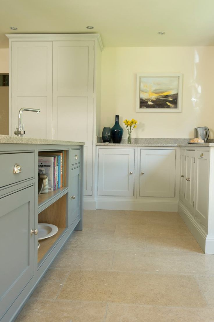 Gorgeous Shaker kitchen from Chalkhouse Interiors hand painted in Little Green Paint Company Inox and Urbane Grey