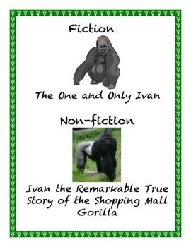 This is a comparison between two books: The One and Only Ivan and Ivan the Remarkable True Story of the Shopping Mall Gorilla, both by Katherine Applegate. It compares fiction and nonfiction with text feature worksheets, trivia questions, glossary, vocabulary and framework pages.