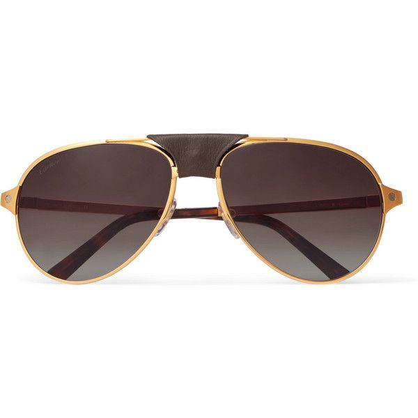 Cartier Santos de Cartier Aviator-Style Leather-Trimmed Gold-Plated... (19,680 MXN) ❤ liked on Polyvore featuring men's fashion, men's accessories, men's eyewear, men's sunglasses, mens aviator sunglasses and mens brown sunglasses