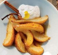sauteed pears with cinnamon and honey with greek yogurt.  no mess, fast, healthy, and superb.
