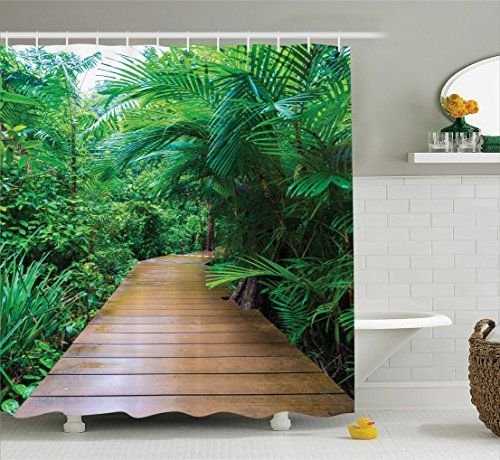 House Decor Shower Curtain Set By Ambesonne Deck Timber Jetty Exotic Getaway Wilderness Footpath Tropic Plants Rainforest Bathroom Accessories 84 Inches Extralong -- You can find out more details at the link of the image.