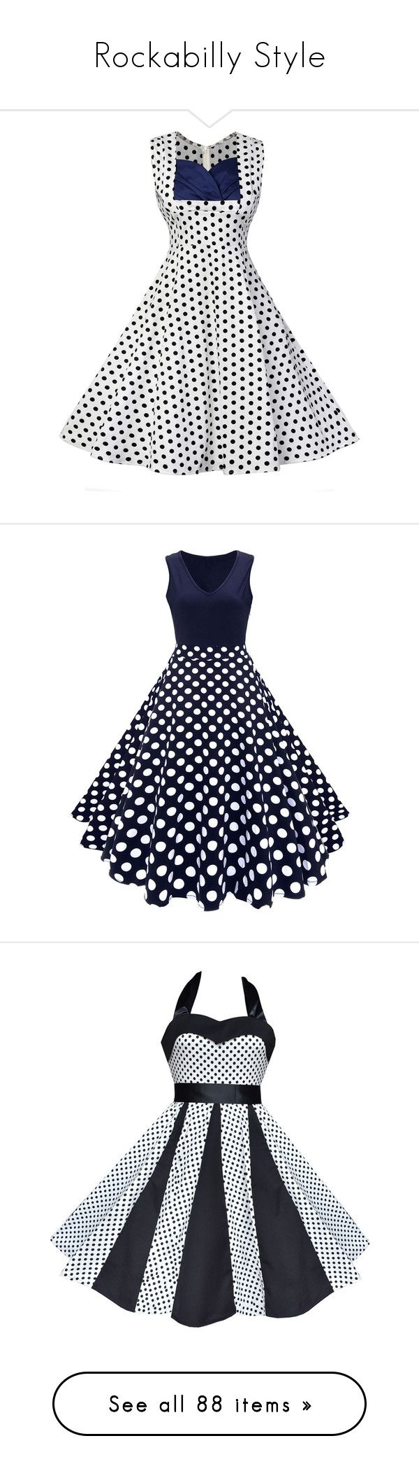 """Rockabilly Style"" by divinespiritcreations ❤ liked on Polyvore featuring dresses, dot dress, spotted dress, vintage day dress, polka dot fit and flare dress, vintage fit and flare dresses, v-neck dresses, blue skater dress, party dresses and night out dresses"