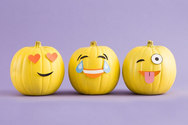 Use yellow paint and paper to make emoji pumpkins for Halloween.