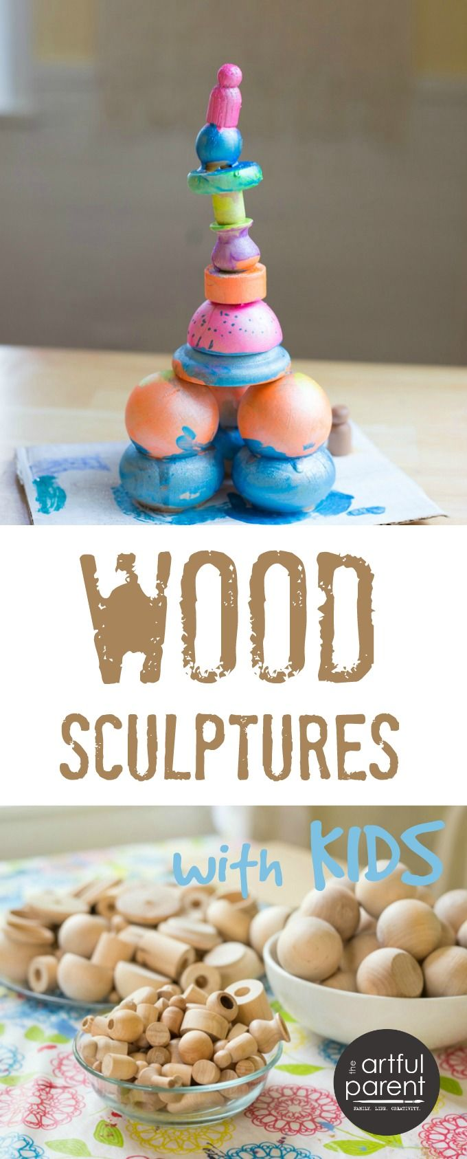Wood sculptures for kids are easy to make with wood scraps and glue. They can paint their finished wood sculptures & even add detail with permanent markers.