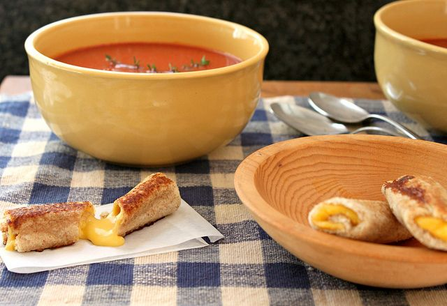Rolled grilled cheese.  Perfect for dipping in your soup.