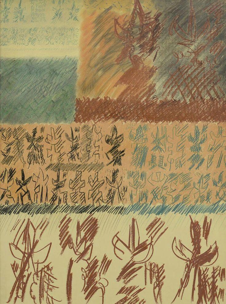 LICATA RICCARDO b. 1929 d. 2014 - Composizione, 1957 pastelli e carboncino su carta