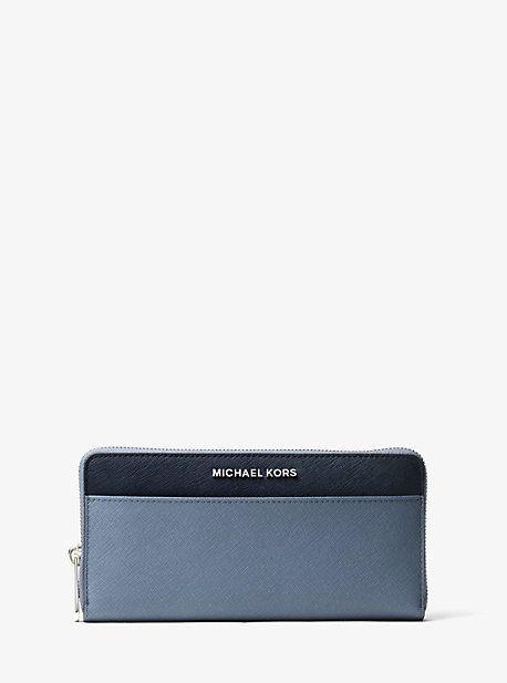 Michael Kors Jet Set Color-Block Saffiano Leather Continental Wallet