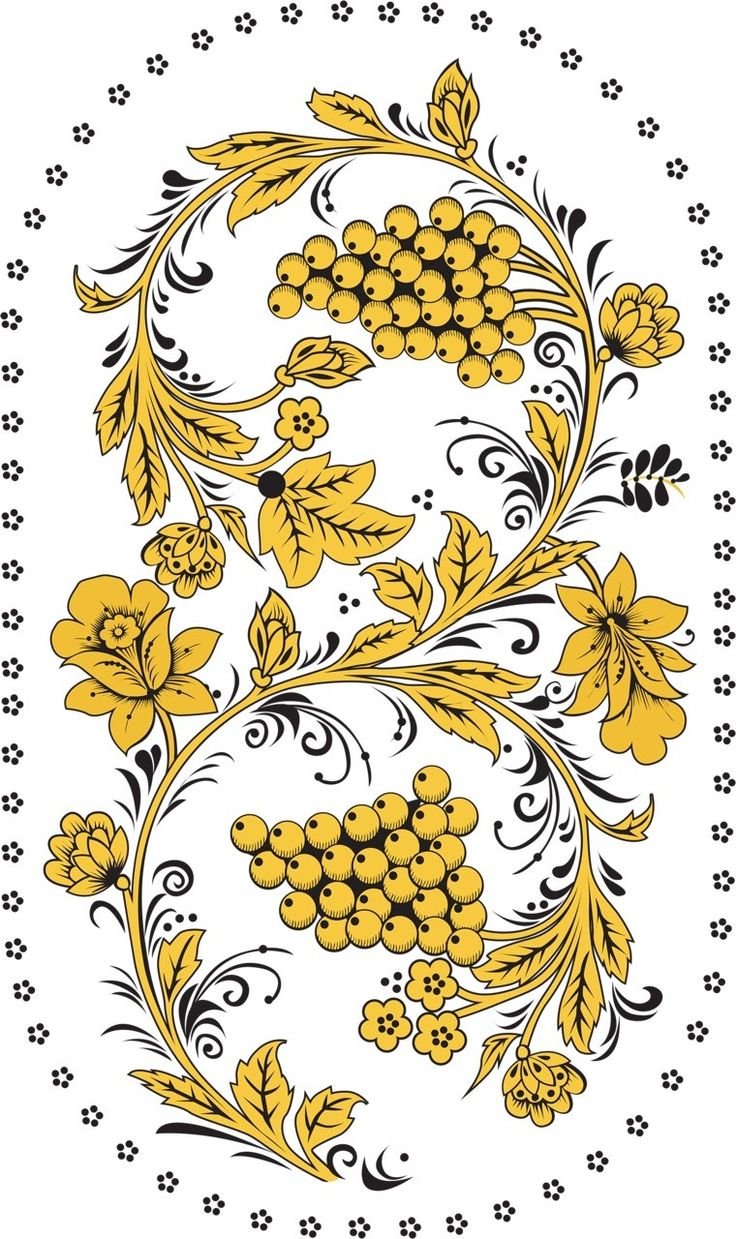 Folk Khokhloma painting from Russia. A floral pattern with berries in golden colours.