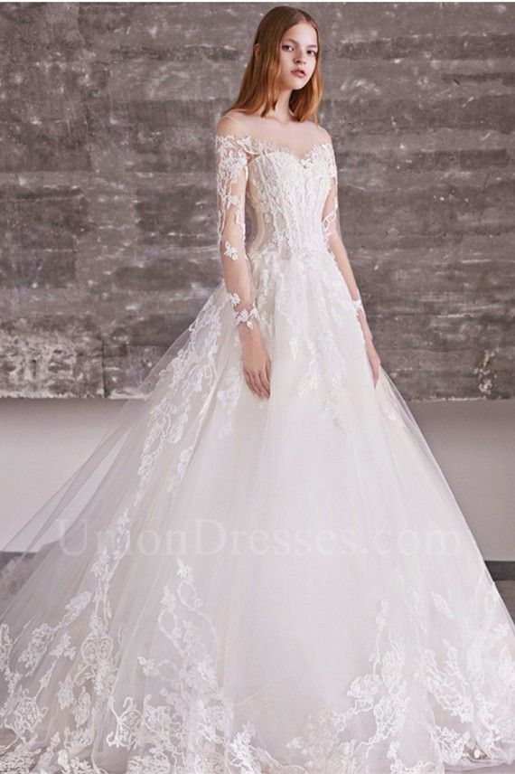 Princess Ball Gown Illusion Neckline Cold Shoulder Long Sleeve