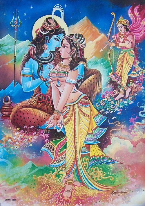 Kama inciting love in Shiva & Sakthi for the world to come into being. (This is a story or parable to give a kind of common and relatable explanation to that which in reality is beyond any words.)