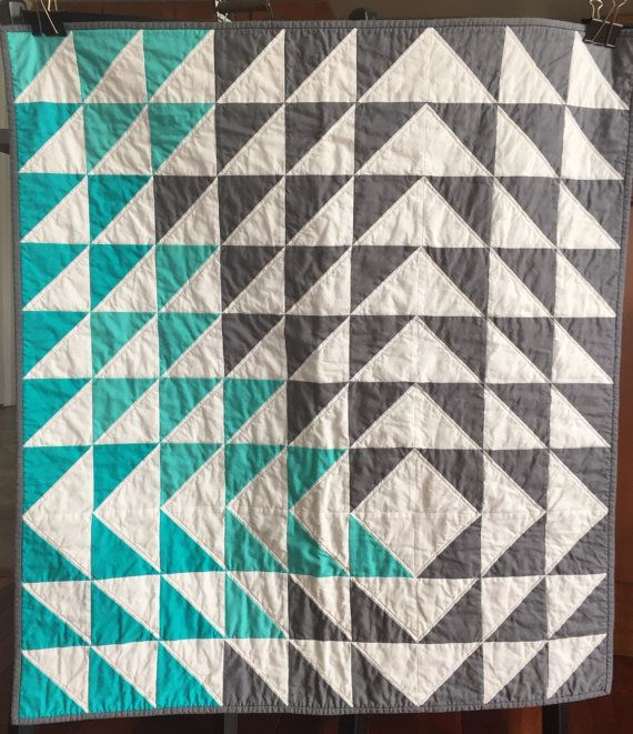 Modern patchwork geometric triangle quilt by ShaShaLaRueQuilts