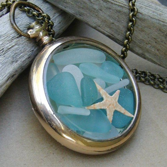 sea glass locket in a pocket watch setting.: Glasses Lockets, Pockets Watches, Pocketwatch, The Ocean, Glasses Necklaces, Antiques Jewelry Crafts, Seaglass, Sea Glasses, The Sea