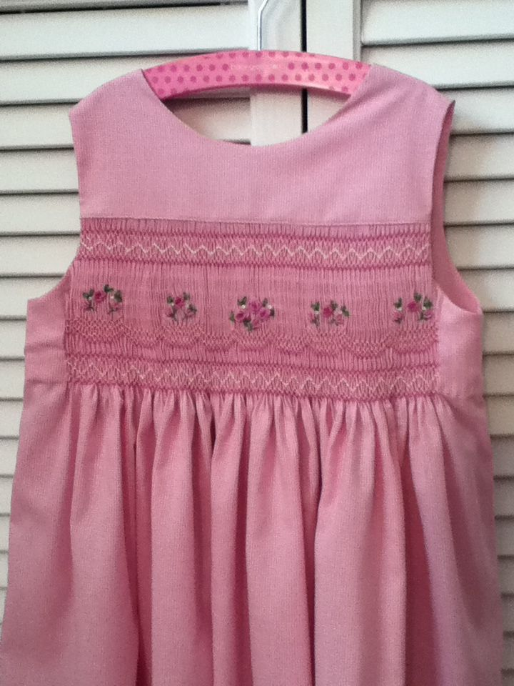 Cammy's Easter dress, 2014. Childrens Corner Mary De jumper smocked with adaptation of a Pinterest pin.