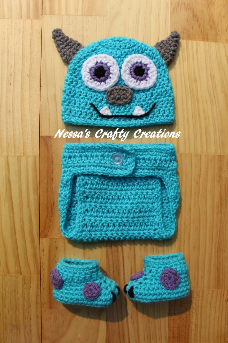 Crochet Monster Set, Crochet Sulley inspired Monsters Inc outfit, Crochet Sulley Hat, Crochet diaper cover, Crochet booties, Monster Inc Set by NessasCraftyCreation on Etsy