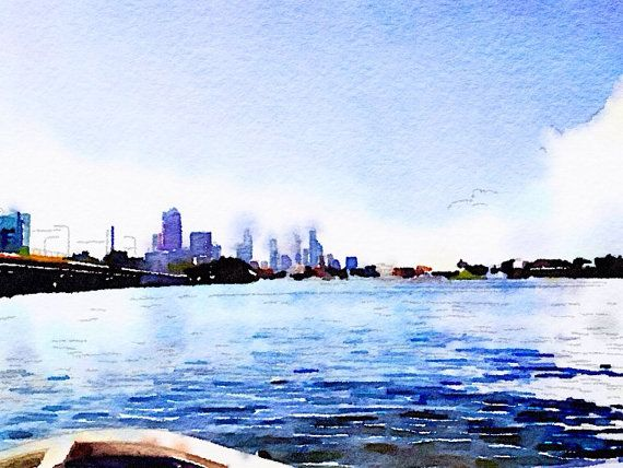 Boats View of Cityscape Print no. 2 Digital Design from The Wishing Wall Art on Etsy. Printed on high quality paper in 4 sizes. Custom sizes are available. Digital download coming soon.