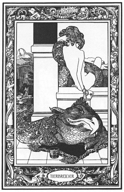From Franz von Bayros' Illustrations for Giambattista Basile's Pentamerone, 1909. SOURCE. Lovely funny and gorgeous monster design.