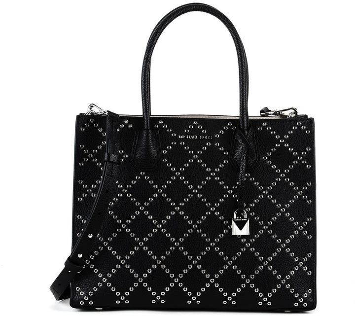 MICHAEL Michael Kors Michaelmichael Michael Kors Big Mercer Handbags In Black Hammered Leather With Studs