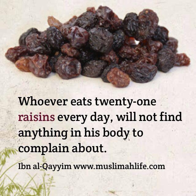 Islamic medicine. Natural medicine. Raisins. Health benefits. www.muslimahlife.com