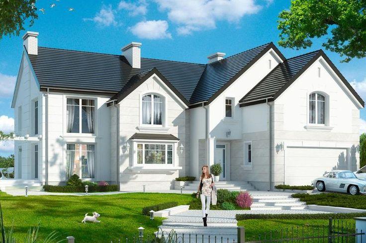Wygląd zewnętrzny domu tworzą wzajemnie przenikające się bryły przekryte dwuspadowymi symetrycznymi dachami. Fot. MG Projekt