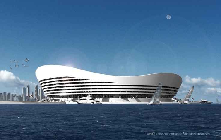 Como un barco, pero con césped y gradas será el Stadium Concept, ideado por un equipo de arquitectos alemanes; para el mundial de fútbol 2022, con sede en Qatar.