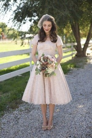 Pinner: I just love the tea length! - I could see myself wearing this! This is what I wanted for my wedding but there was not a single dress like this in the whole Bridal department anywhere.