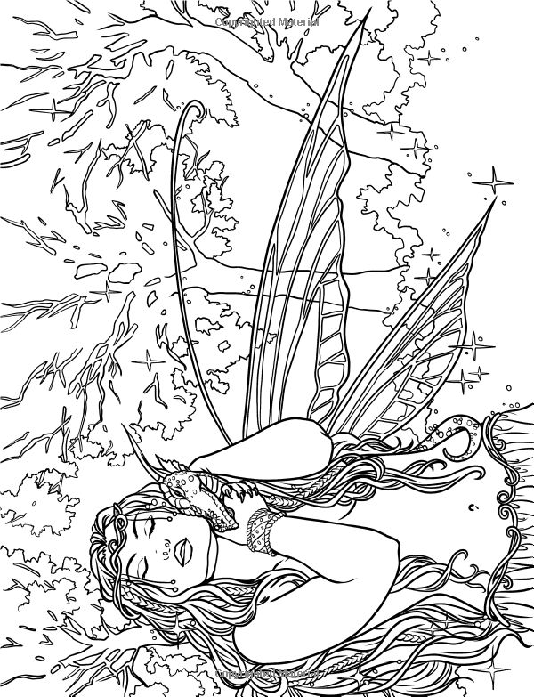 Artist Selina Fenech Fantasy Myth Mythical Mystical Legend Elf Elves Dragon Adult Coloring PagesColoring