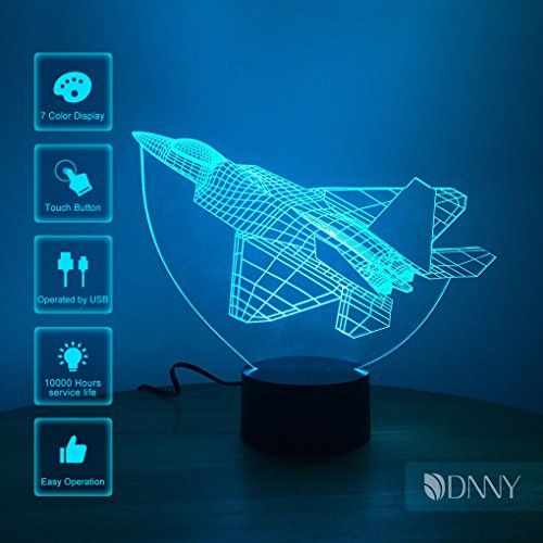 3D night light rocket plane fighter acrylic 7 color illusion led table lamp gift