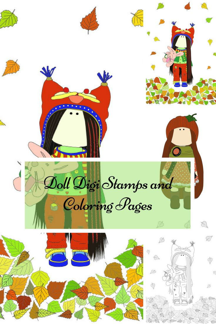 Childrens coloring sheet of a rag doll - Autumn Digi Stamp Handmade Doll Kids Coloring Fabric Doll Tilda Digital Doll Art Instant Download Adult Coloring Cloth Rag Doll By Anastasia We Are Happy