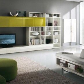 Modern TV Wall Units for Living Room Designs - Image 07 : White and Green Gorgeous TV Wall Mount with Shelves
