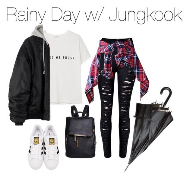 """""""Rainy Day with Jungkook"""" by kookiechu ❤ liked on Polyvore featuring WithChic, MANGO, adidas Originals and Burberry"""
