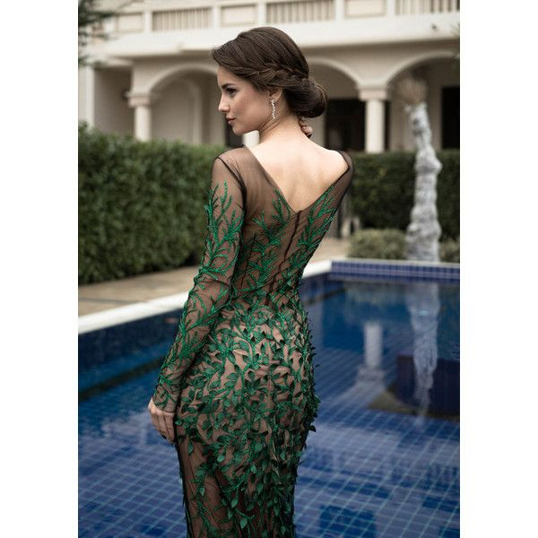 Green formal gown, Long cocktail dress, Mother of the bride dress in... ($1,750) ❤ liked on Polyvore featuring dresses, gowns, long dresses, formal gowns, formal evening dresses, formal dresses and green gown